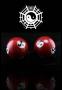 Qi Gong Kugeln Yin Yang rot 35 mm in Schatztruhe