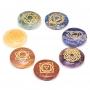Edelstein SET mit 7 Chakra Symbolsteinen (rund)