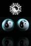 Qi Gong Kugeln Yin Yang weiß / grün marmoriert 35 mm