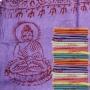 Schal mit Buddha Druck - samtweiche dünne Viskose - violett