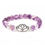 Armband Chevron Amethyst / Bergkristall mit Lotus