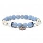 * ~     * Angelit / Bergkristall Armband mit Herz elastisch