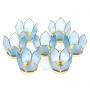 * ~       * Lotus Teelichthalter klein blau goldfarbig